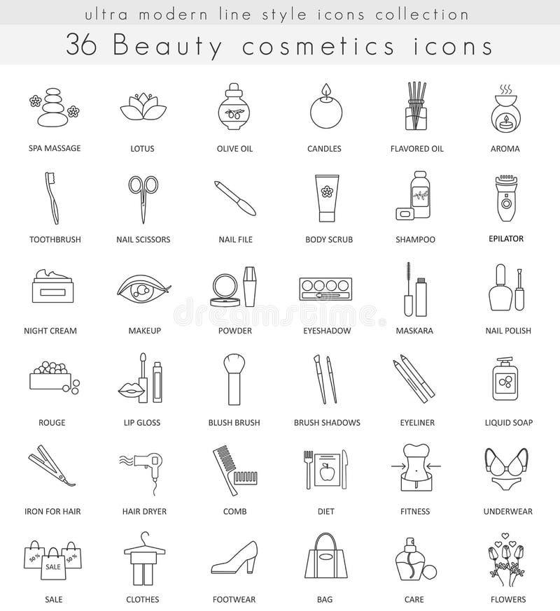 Vector линия значки плана косметик красоты ультра современная для сети и apps иллюстрация штока