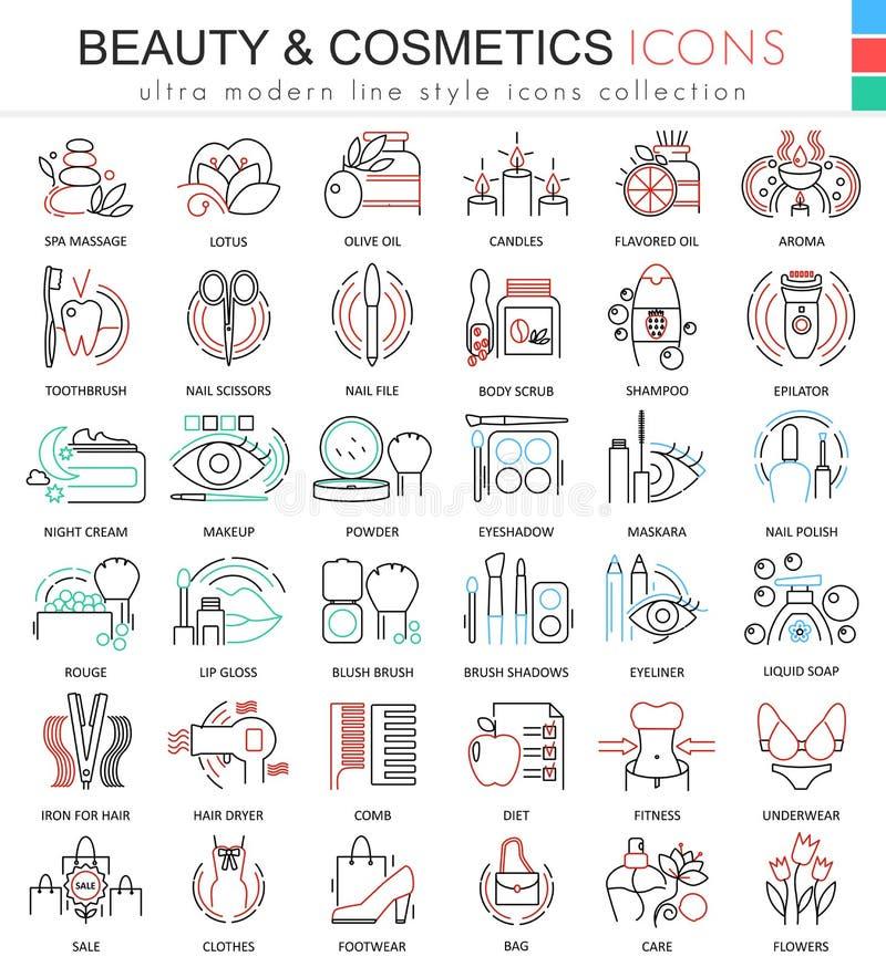 Vector линия значки плана красоты и цвета косметик ультра современная для apps и веб-дизайна иллюстрация вектора