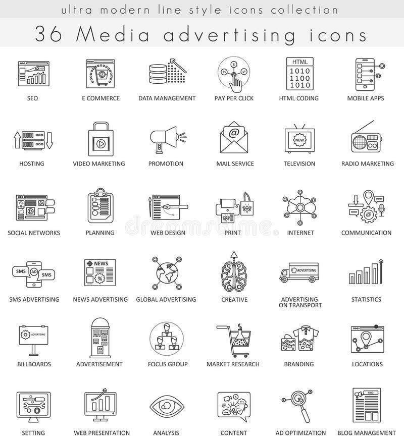 Vector линия значки плана рекламы средств массовой информации ультра современная для сети и apps иллюстрация штока