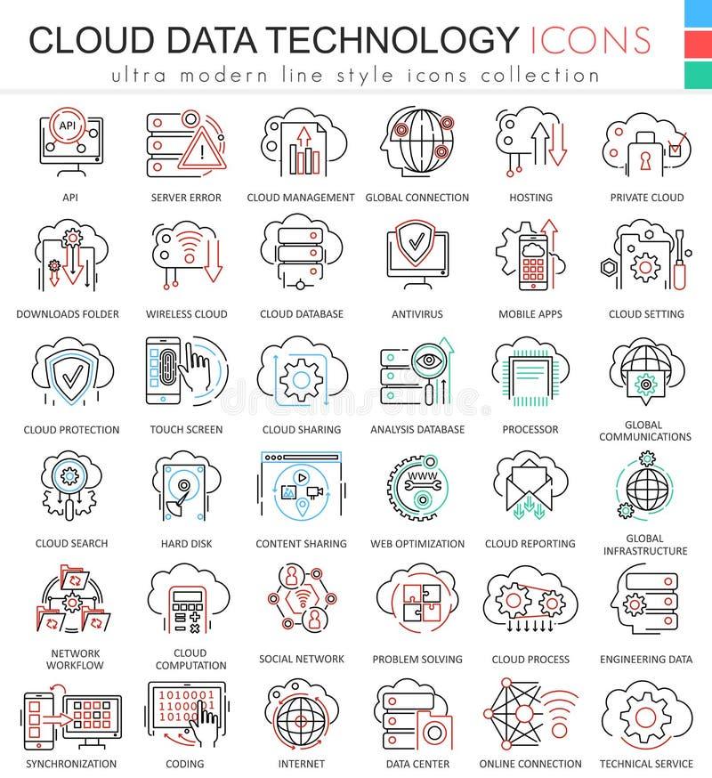 Vector линия значки плана цвета базы данных технологии данным по облака ультра современная для apps и веб-дизайна иллюстрация вектора