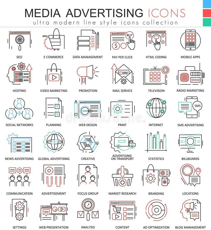Vector линия значки плана цвета рекламы средств массовой информации ультра современная для apps и веб-дизайна бесплатная иллюстрация