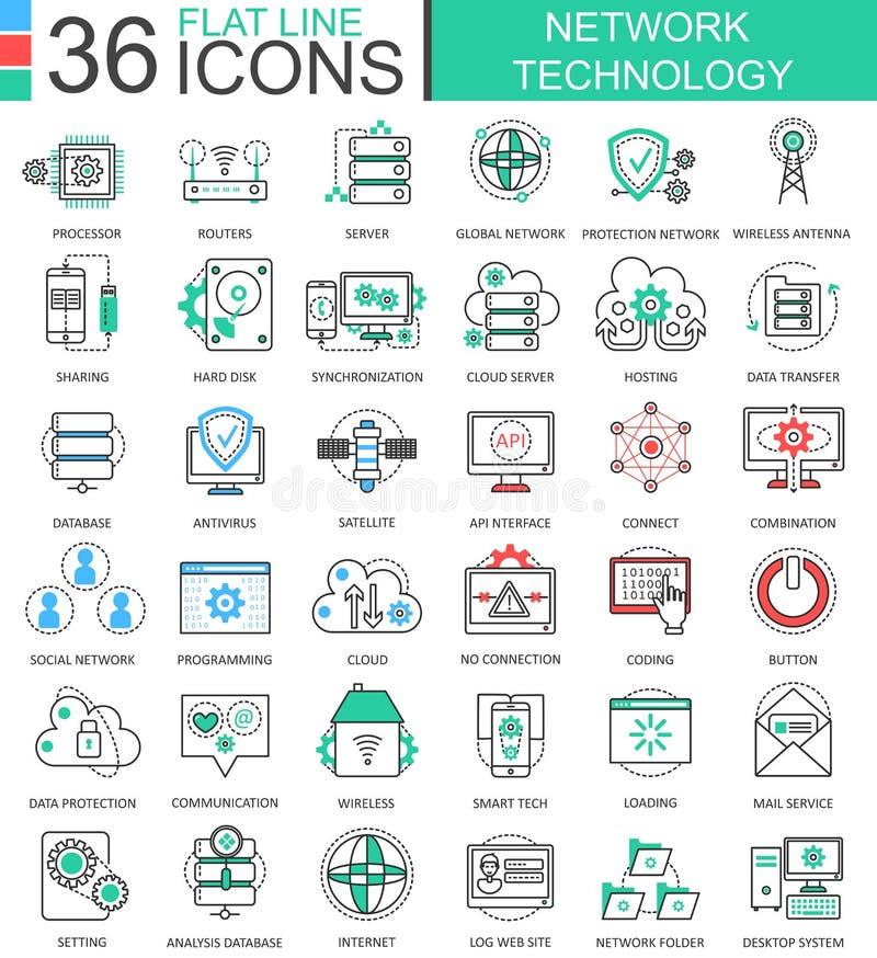 Vector линия значки современного цвета технологии сети плоская плана для apps и веб-дизайна бесплатная иллюстрация