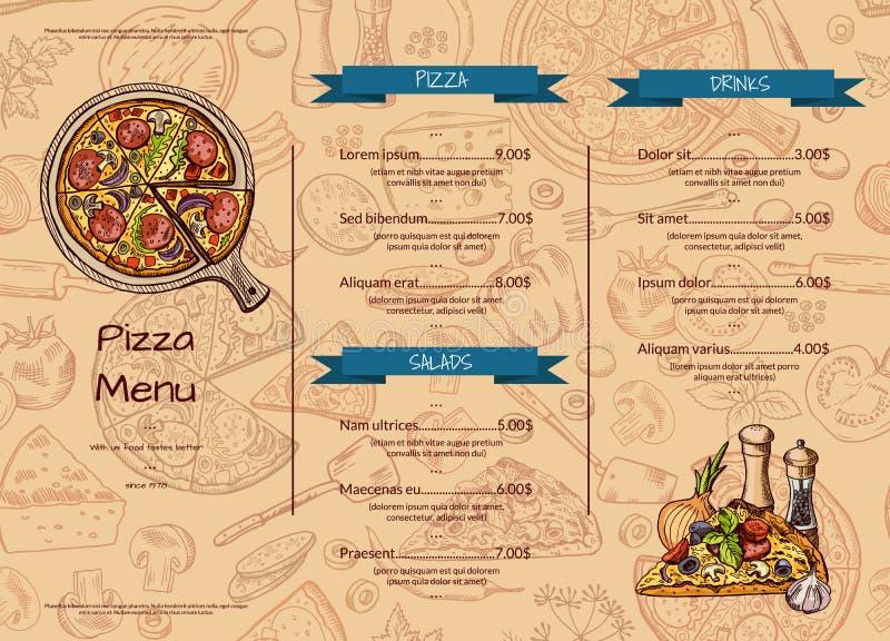 Vector итальянский шаблон меню ресторана пиццы с элементами нарисованными рукой покрашенными иллюстрация вектора