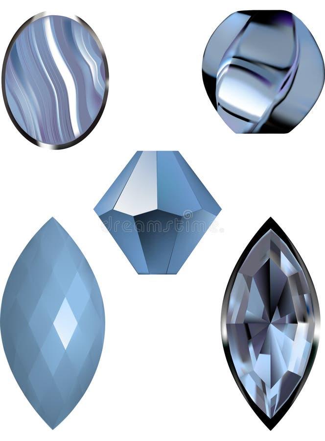 Vector иллюстрации агата шнурка голубого, голубого самоцвета и голубых шариков бесплатная иллюстрация