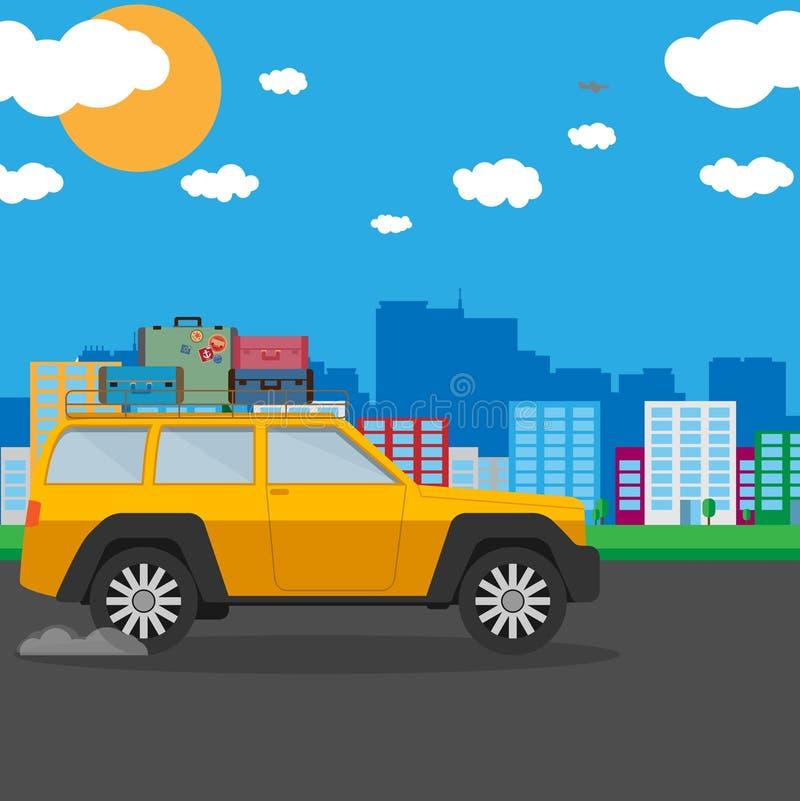 Vector иллюстрация автомобиля с предпосылкой природы иллюстрация вектора