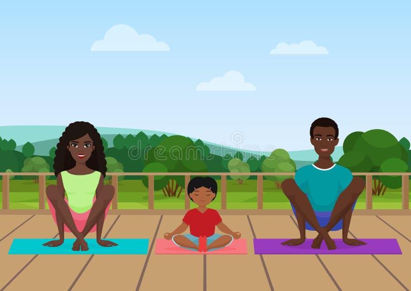 Vector иллюстрация Афро-американской семьи размышляя на предпосылке поля природы иллюстрация вектора