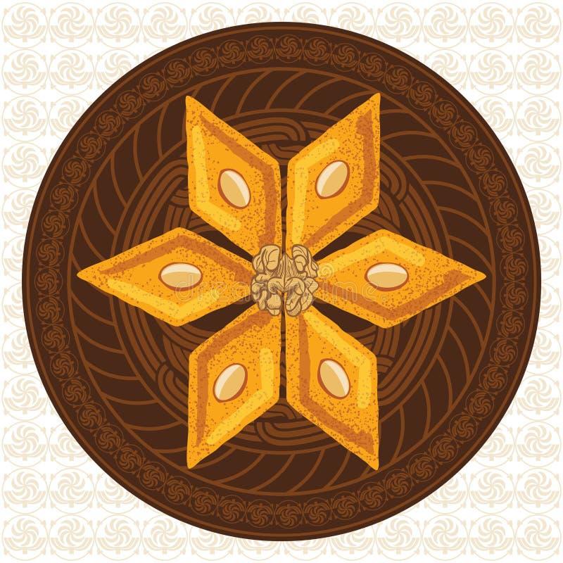 Vector иллюстрация бахлавы на круглой плите с традиционной картиной стоковое изображение rf