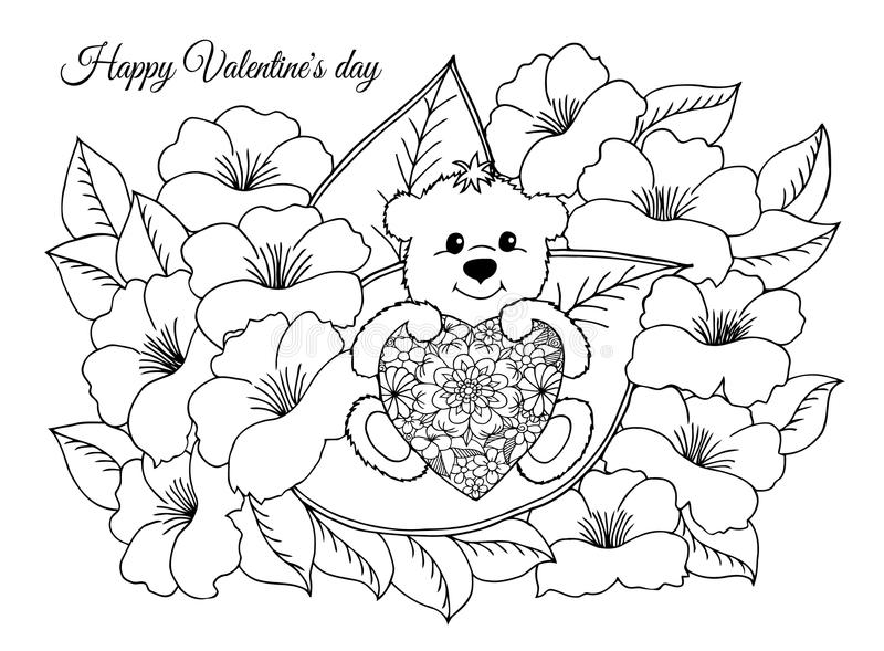 Vector иллюстрация, валентинки, влюбил плюшевый медвежонок с сердцем сидит на лист среди цветков Работа сделанная в руководстве иллюстрация вектора