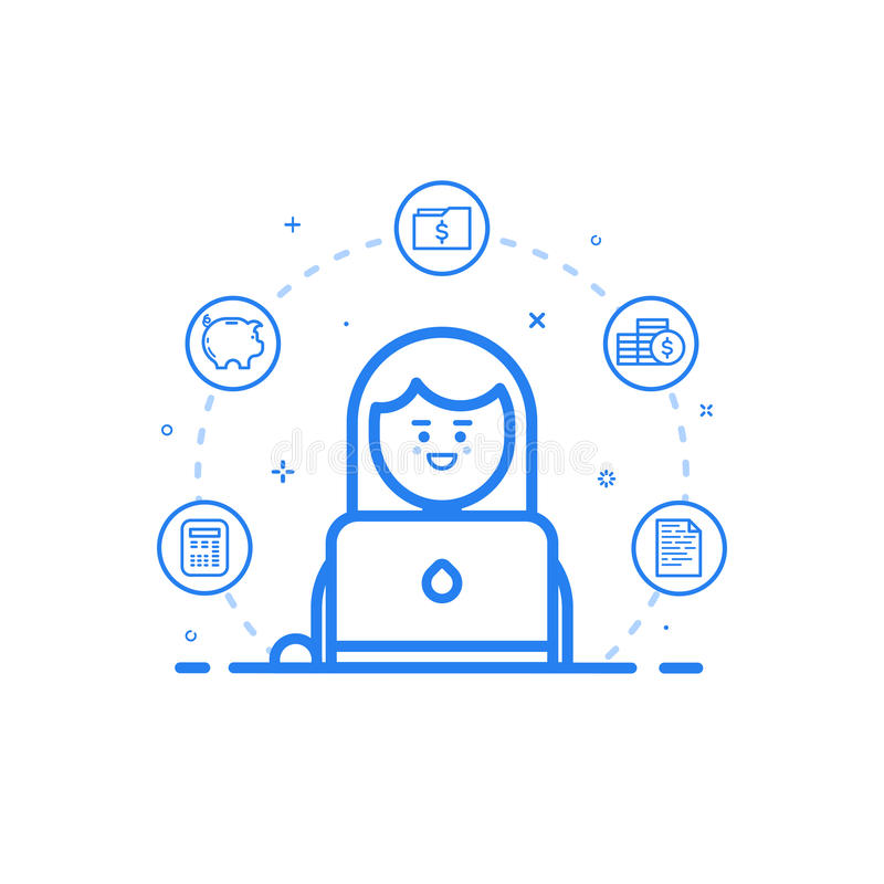Vector иллюстрация голубого значка в плоской линии стиле Конструктивная схема графического дизайна бухгалтера женщины финансового иллюстрация штока