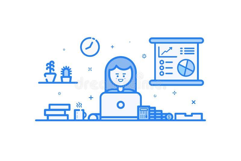 Vector иллюстрация голубого значка в плоской линии стиле Конструктивная схема графического дизайна бухгалтера женщины финансового иллюстрация вектора