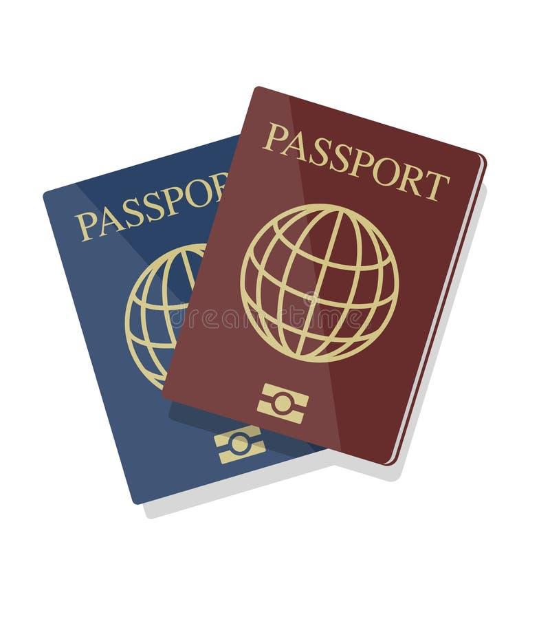 Vector иллюстрация голубых и красных биометрических пасспортов с glo иллюстрация вектора