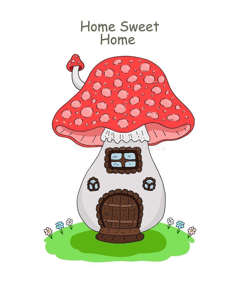 Vector иллюстрация гриба дома, изолированный объект на белой предпосылке бесплатная иллюстрация