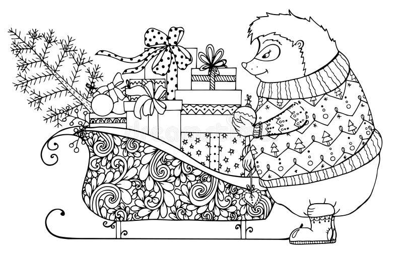 Vector иллюстрация, еж и розвальни рождества с подарками Чертеж Doodle бесплатная иллюстрация