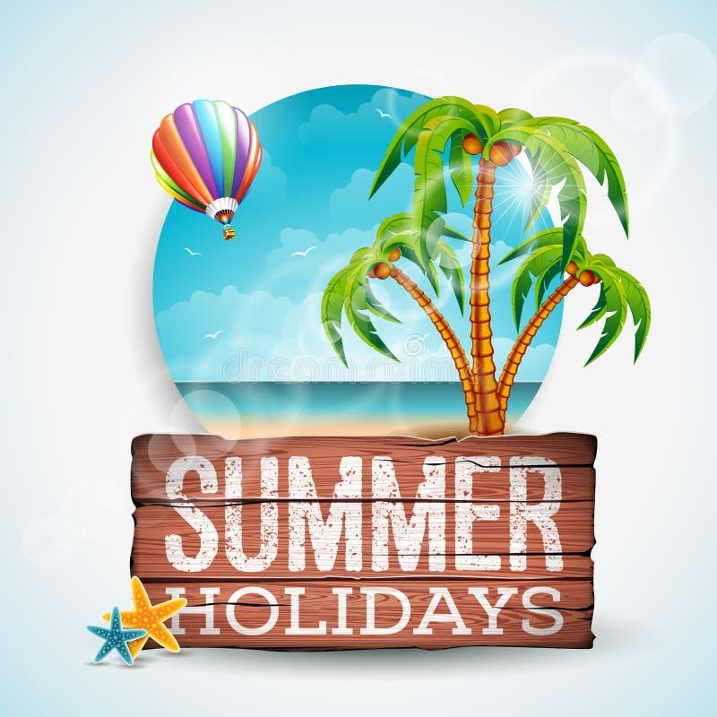 Vector иллюстрация летнего отпуска типографская на винтажной деревянной предпосылке Тропические заводы, ладонь, ландшафт океана и иллюстрация вектора