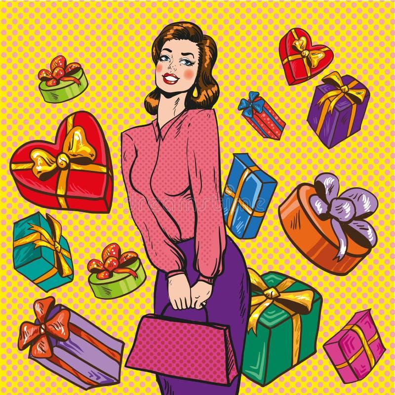 Vector иллюстрация женщины и подарочных коробок, стиля искусства шипучки иллюстрация вектора