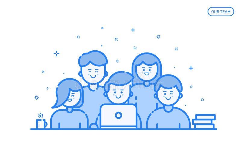 Vector иллюстрация знамени в плоской линии стиле Концепция нашей команды для вебсайта и передвижного вебсайта бесплатная иллюстрация