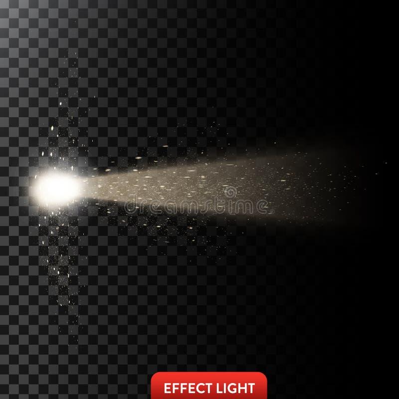 Vector иллюстрация золотого светового луча с ярким блеском, светового луча с искрами бесплатная иллюстрация