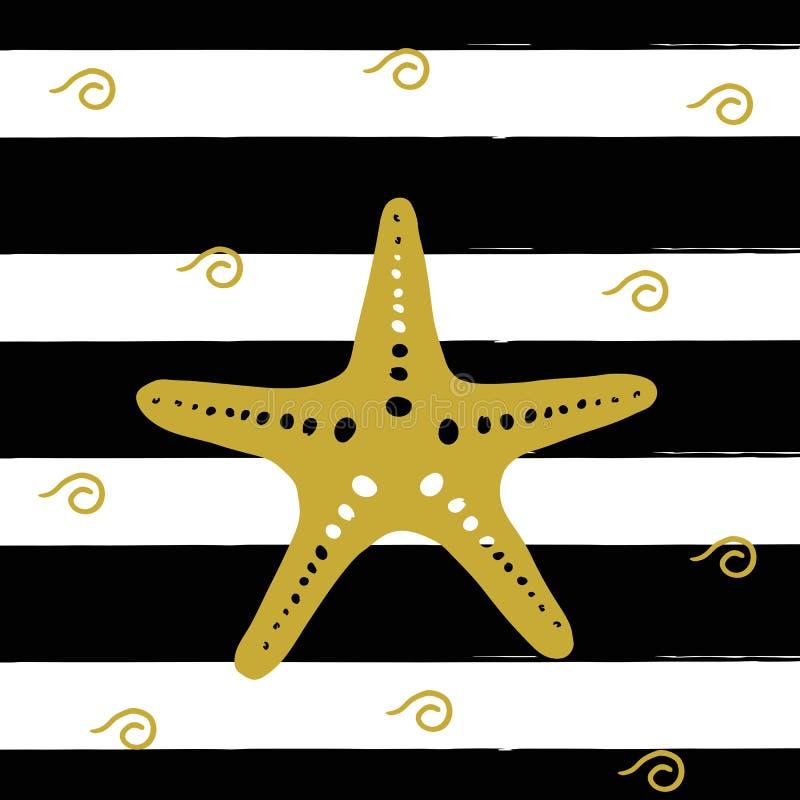 Vector иллюстрация золотой морской звезды на черных нашивках иллюстрация штока