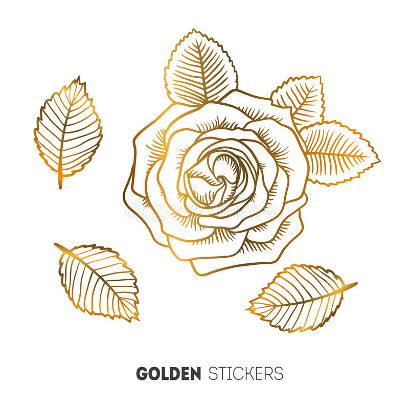 Vector иллюстрация золотых стикеров цветка, внезапная временная татуировка иллюстрация вектора