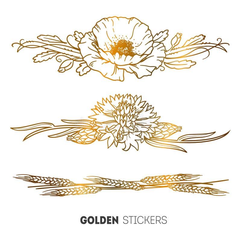 Vector иллюстрация золотых стикеров цветков мака, cornflower и пшеницы браслета, татуировки вспышки временной иллюстрация вектора