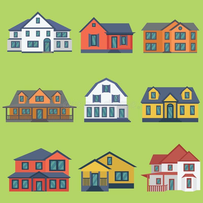 Vector иллюстрация зданий детального красочного плоского стиля современных иллюстрация вектора