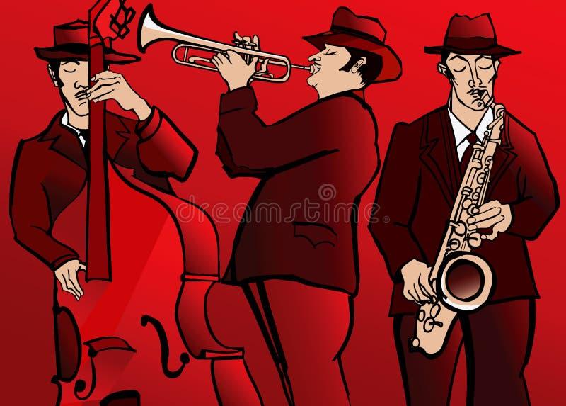 Диапазон джаза с басовым саксофоном и трубой иллюстрация вектора