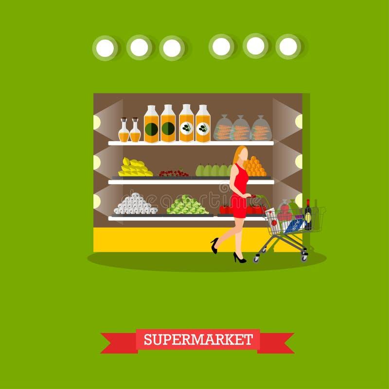 Vector иллюстрация интерьера супермаркета, гастронома в плоском стиле иллюстрация штока