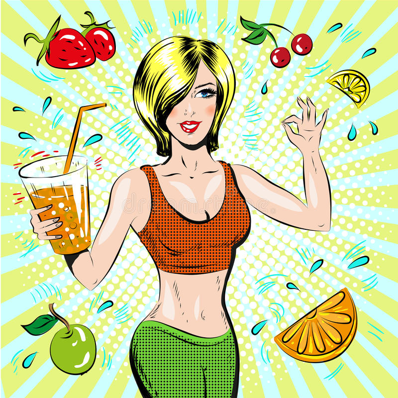 Vector иллюстрация искусства шипучки красивой sporty девушки бесплатная иллюстрация