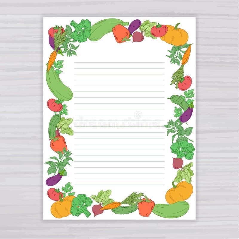 Vector иллюстрация листа с vegetable рамкой на деревянном фоне иллюстрация вектора