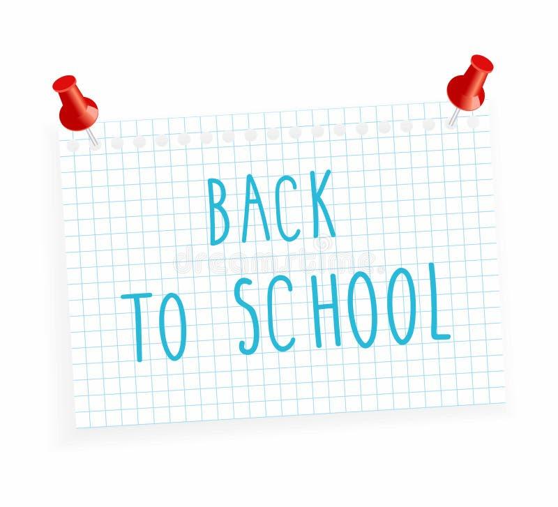 Vector иллюстрация лист бумаги в клетку и надпись - назад к школе, иллюстрация штока