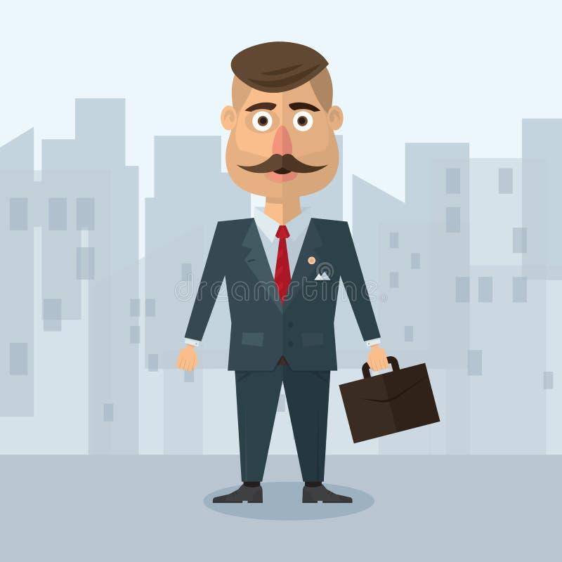 Vector иллюстрация квартиры в бизнесмене стиля с усиком в деле серого костюма строгом в городском environm иллюстрация вектора