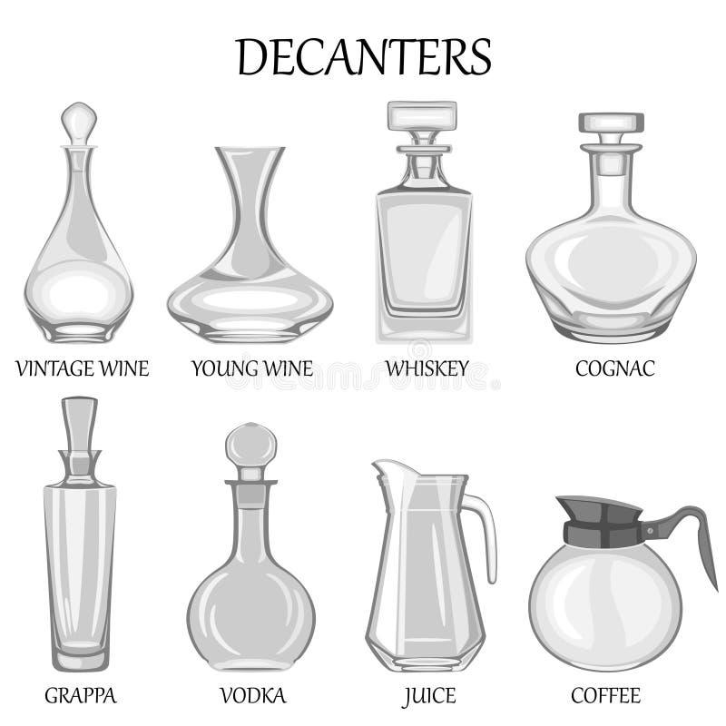 Vector иллюстрация комплекта 8 графинчиков различных пить иллюстрация вектора