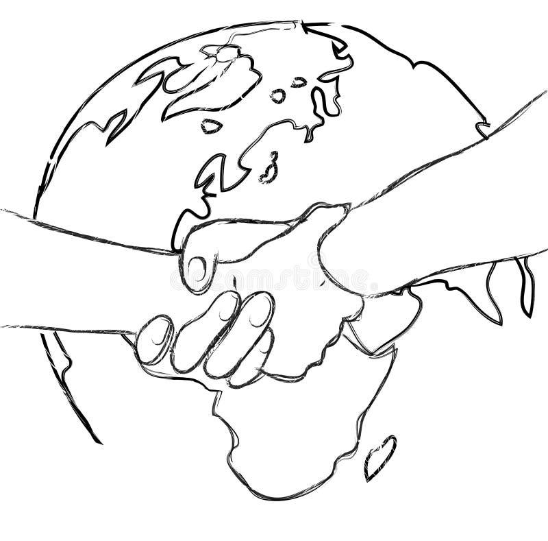 Vector иллюстрация концепции мира и frienship рукопожатия иллюстрация вектора