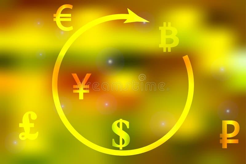 Vector иллюстрация концепции доллара валютной биржи, иены, фунта, рубля, bitcoin на ярком свете - желтой предпосылки евро иллюстрация вектора