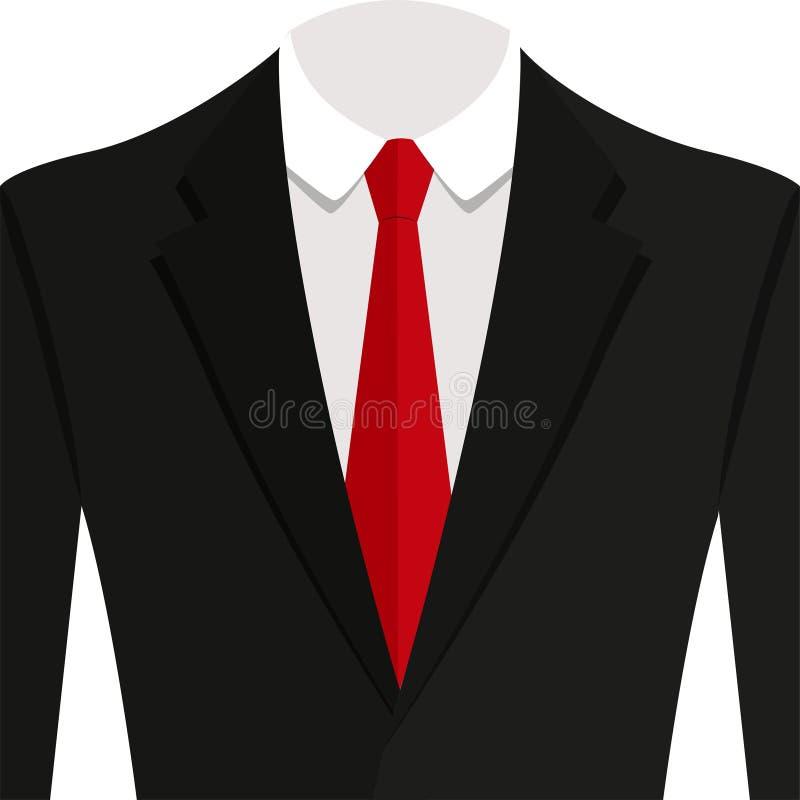 Vector иллюстрация костюма чернокожего человека с красной связью и белой рубашкой бесплатная иллюстрация