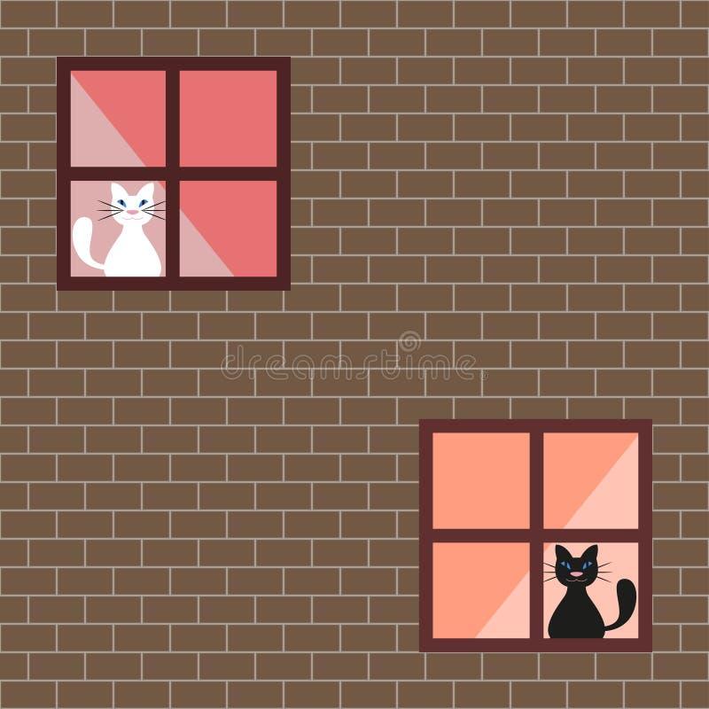 Vector иллюстрация коты в окнах дома бесплатная иллюстрация