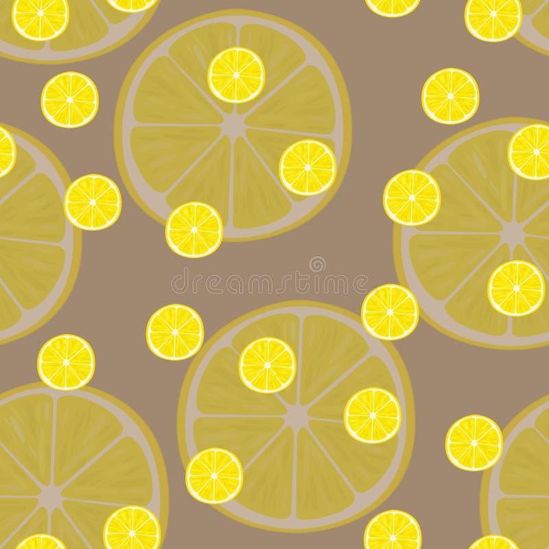 Vector иллюстрация кусков лимона в одинаковых размерах на коричневом цвете Картина иллюстрация вектора