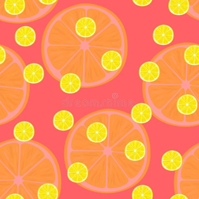 Vector иллюстрация кусков лимона в одинаковых размерах на красном цвете Картина иллюстрация вектора