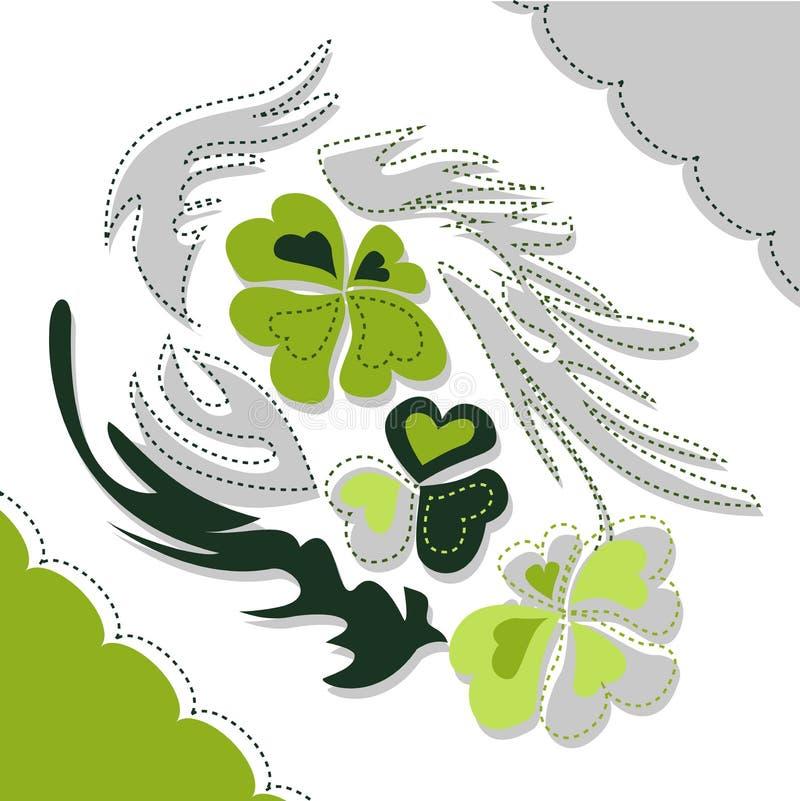 Vector иллюстрация клевера в зеленых и белых цветах стоковая фотография