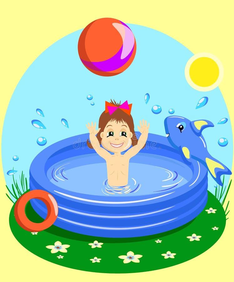 Vector иллюстрация маленькой девочки счастливо плавая в резиновом бассейне с шариком иллюстрация вектора