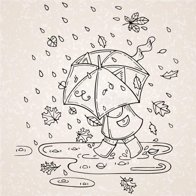 Vector иллюстрация милого ребенк с зонтиком в сезоне дождей бесплатная иллюстрация