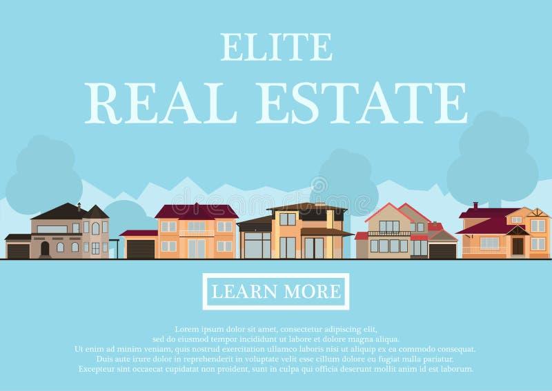 Vector иллюстрация милых домов для ренты или продажи в плоском стиле здания предпосылка с голубыми пастельными цветами страна бесплатная иллюстрация