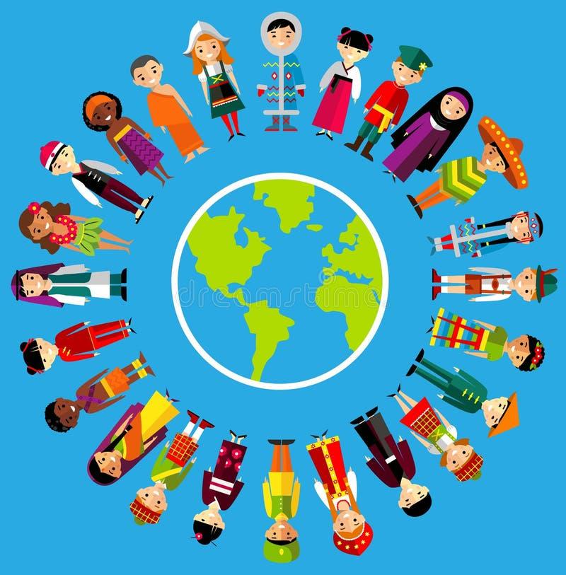 Vector иллюстрация многокультурных национальных детей, людей на земле планеты стоковое изображение