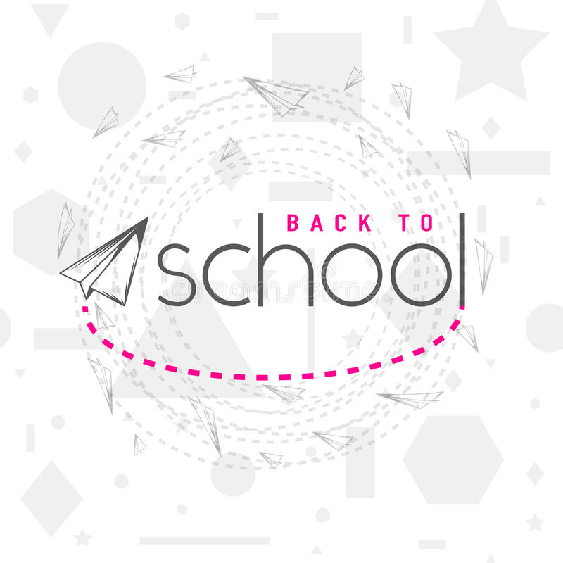 Vector иллюстрация назад к поздравительной открытке школы с элементом оформления и самолету летания на безшовное геометрическом иллюстрация штока