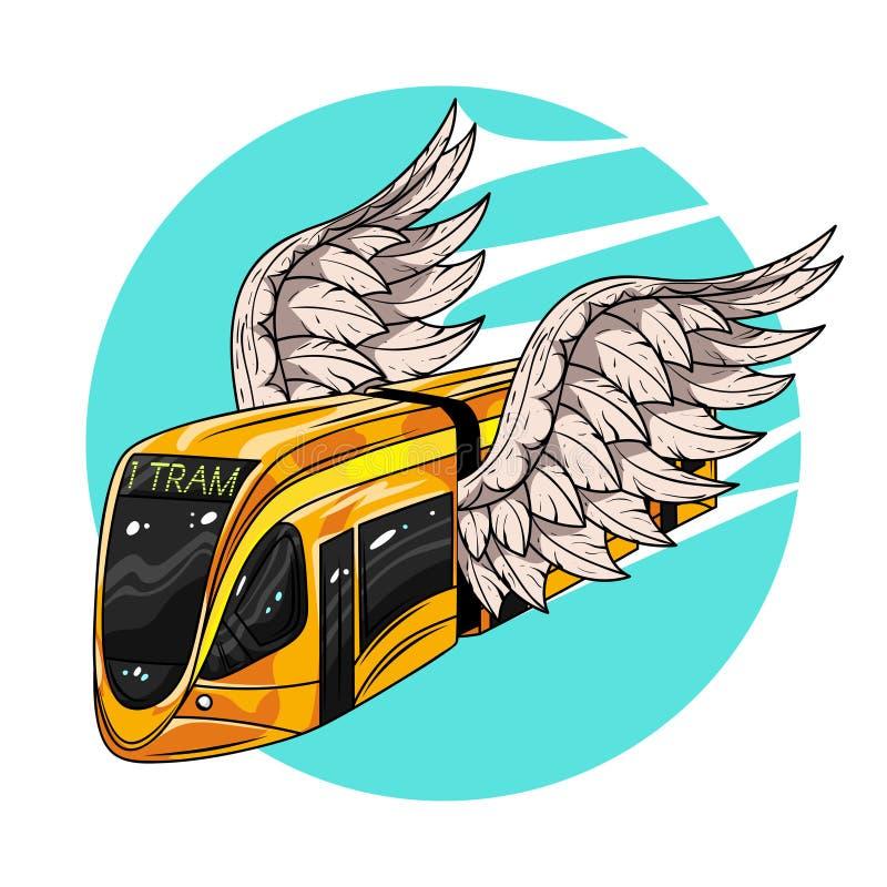 Vector иллюстрация нарисованная рукой современного автомобиля трамвая с крылами иллюстрация вектора