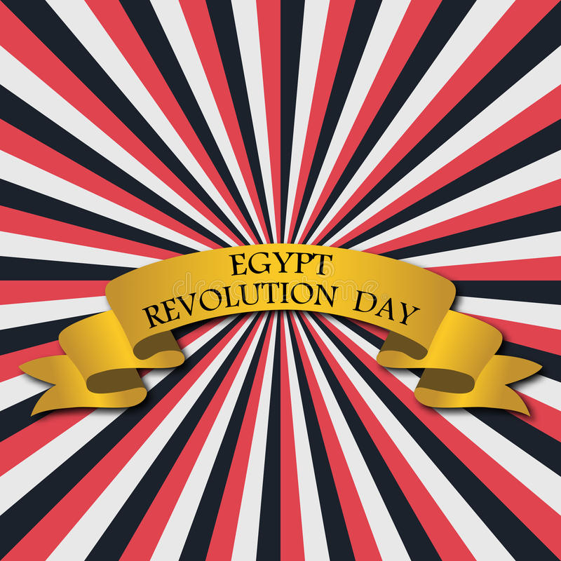 Vector иллюстрация на день революции Египта, ретро поздравительная открытка стиля с лучами и золотая лента иллюстрация штока