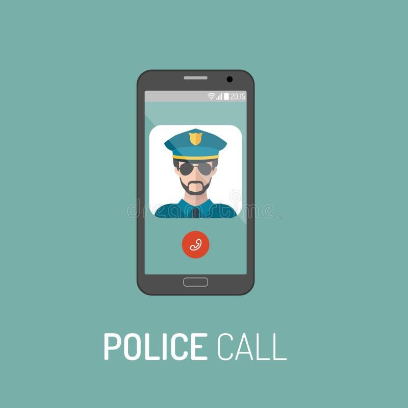 Vector иллюстрация непредвиденного звонка полиции с значком полицейския на мобильном телефоне в ультрамодном плоском стиле иллюстрация штока