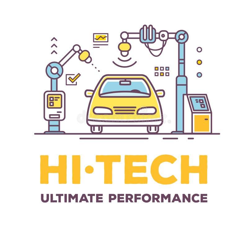 Vector иллюстрация обслуживания автомобиля высокотехнологичного с заголовком иллюстрация вектора