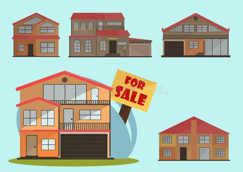 Vector иллюстрация домов милого шаржа красочных для продажи или арендуйте Иллюстрация зданий вектора плоская бесплатная иллюстрация