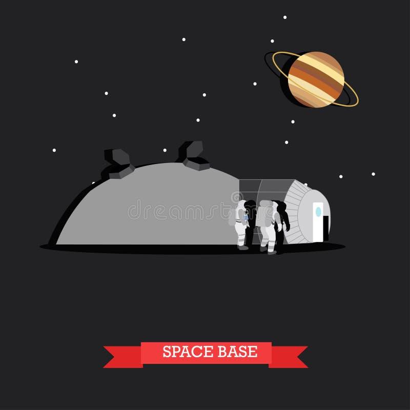 Vector иллюстрация основания и астронавтов космоса в плоском стиле бесплатная иллюстрация